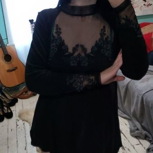 Free People Sheer Lace Turtleneck